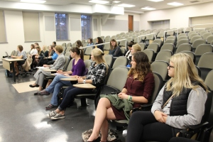 PRSSA members listen to Atkinson's experiences about handling IU Bloomington's social media accounts.