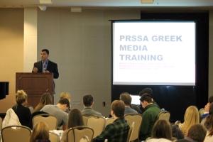 Ryan Piurek, Director of Strategic Communications at IU, speaks to Greek organizations.  Picture by Tori Lawhorn.